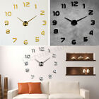 3D DIY Wall Sticker Clock Large Size Mirror Surface Home Decor Quartz Home