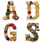 Luxury Pearl Crystal Letter Brooch Pin Colorful Women Wedding Bride Jewelry Gift image