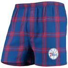 Philadelphia 76ers Concepts Sport Homestretch Flannel Boxer Shorts - Royal on eBay