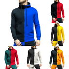 Men's Patchwork Color Hoodie Pullover Sports Hooded Tracksuit Sweatshirts