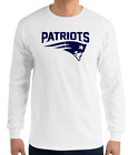 PATRIOTS New England WHITE long sleeve T-Shirt navy Graphic Cotton Adult  S-2XL on eBay