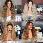 26''Women Ladies Blonde Ombre Wig Synthetic Long Curly Wavy Hair Party Costume