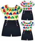 Girls Heart Playsuit Kids New Summer Party Off Shoulder Jumpsuit Age 2-14 Years
