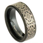 6mm Black Tungsten w/ Celtic Stripe Etch Band Women's Wedding Ring image