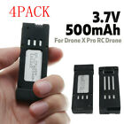 4 PACK 3.7V 500mAh Lipo Battery Quadcopter Spare Parts For Drone X Pro RC Drone