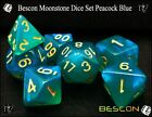 Bescon Moonstone RPG Polyhedral Dice Set Peacock Blue, Turquoise, Purple Pearl