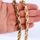 """7-40"""" Gold Plated Stainless Steel Men's Byzantine Box Chain Necklace 4/5/8mm"""