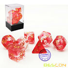 Bescon Crystal Blue 7-pc Poly Dice Set, Polyhedral RPG Dice Set Crystal Series