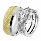His & Hers Wedding Rings Sets Stainless Steel Round CZ Tungsten Men Band LP