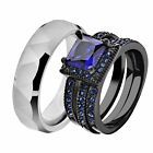 His & Hers Black Stainless Steel Blue Wedding Ring Sets Tungsten Men Band HW