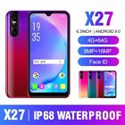 X27 6.3'' Face Android 9.0 Smart Phone 4gb/64gb Dual Sim Cellphone Unlocked