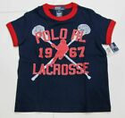 New tag Boys RALPH LAUREN Navy Blue Short Sleeve POLO Lacrosse T Shirt S M L XL