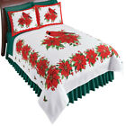 Cardinals and Poinsettias Fleece Bed Coverlet - Warm Winter Bedding Accents image