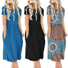 Women's Short Sleeve Pockets Dress Empire Waist Loose Swing Flare Dress