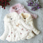 Kids Baby Girls Winter Warm Hooded Coat Toddler Fur Fleece Jacket Floral Outwear
