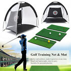 Portable Golf Hitting Cage Practice Net Trainer With Training Mat +2 Balls +Tee