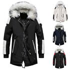 Mens Fashion Parka Padded Autumn Winter Lined Jacket Coat with Faux Fur Hood
