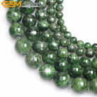 AA Grade Round Natural Green Diopside Stone Loose Beads For Jewelry Making 15''