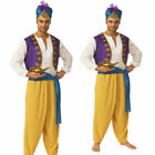 Mens Sultan Aladdin Fancy Dress Adults Arabian Nights Genie Adult Costume + Turb