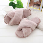 Womens Fluffy Fur Cross Over Open Toe Mule Slippers Comfy Home Indoor Shoes UK