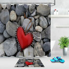 Waterproof Polyester Fabric Red Heart In Stone Shower Curtain Hooks Bathroom Mat