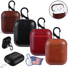 For Apple Airpod Earphone Soft / Matte Leather 360° Protector Case Cover Hook US