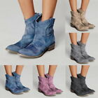 Women Lady Ankle Boot Winter Imitation Suede Square Heel Pointed Toe Boot Shoes