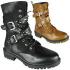 Womens Studded Boots Ladies Goth Punk Zip Rider Lace Up Mid Calf  Croc Shoes Siz