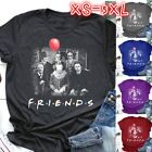 Women's Fashion Horror Friends Print Shirt Short Sleeve Halloween T-Shirt Blouse image