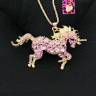 Betsey Johnson Cute Crystal Unicorn Horse Pendant Sweater Chain Necklace Gift image