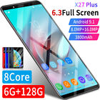 X27 Plus 6+128g Smart Phone Dual Sim Unlocked Hd Android 9.1 Mobile Phone 6.3''