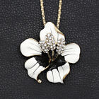 Betsey Johnson Enamel Crystal Bauhinia Flower Pendant Chain Necklace/brooch Pin