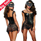 Sexy Women Gothic Dress Faux Leather Lace Up Steampunk Corset Plus Size Bustier