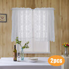 Window Curtain Checked Sheer Voile Kitchen Curtain Cafe Lace Valance Short Panel