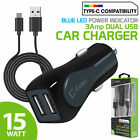 Cellet 3A Dual USB Car Charger + Type-C Cable for Galaxy Note 10 LG G8/G7 Pixel4