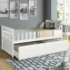 Twin Size Wood Bed Frame Daybed with Trundle Bed and 3 Storage Drawers Captain