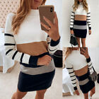 Womens Slim Fit High Collar Contrast Stripe Long Sleeve  Casual Sweater Dress US