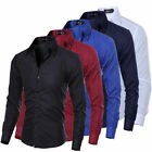 US Men Luxury Casual Formal Shirt Long Sleeve Slim Fit Business Dress Shirts Top