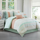 Laura 7-Piece Coral Mint Geometric Embroidered Pleated Striped Comforter Set image
