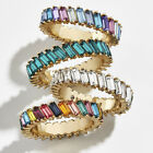 Women Full Rectangle Faux Crystal Inlaid Finger Ring Wedding Party Jewelry Nove