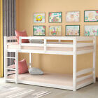 White/Gray Finish Wooden Twin Over Twin Triple Bunk Bed Convertible Sleep 3 Kids