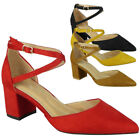 Ladies Mid Heel Sandals Womens Slip On Buckle Strap Office Work Party Shoes