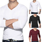 Fashion Men's Long Sleeve T-Shirt Slim Fit Casual Solid Color Basic Tee Shirts image
