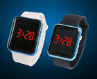 Square Mirror Face Silicone Band Digital LED Watches WristWatch Sport Watch W01 image