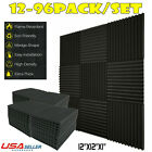 "96 Pack Acoustic Wedge Studio Soundproofing Foam Wall Tiles 12"" X 12"" X 1"" USA"