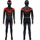 Man Into the SuperHero Costume Kids Miles Morales Cosplay Fancy Paty Suit