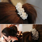 Women Faux Pearls Beads Ponytail Holder Lady Hair Band Rope Scrunchie Nov