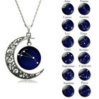 Astrology Astrological Signs Moon Glass Cabochon Pendant Women Necklace Novelt