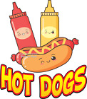 Hot Dogs DECAL (Choose Your Size) Food Truck Concession Vinyl Sign Sticker