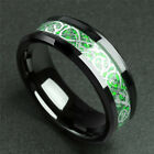 Women's Tungsten Ring Dragon Carbon Fiber Ring Men's Jewelry Red Green 8mm